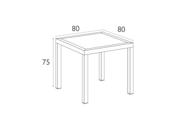 Ares Table 80 Dimensions