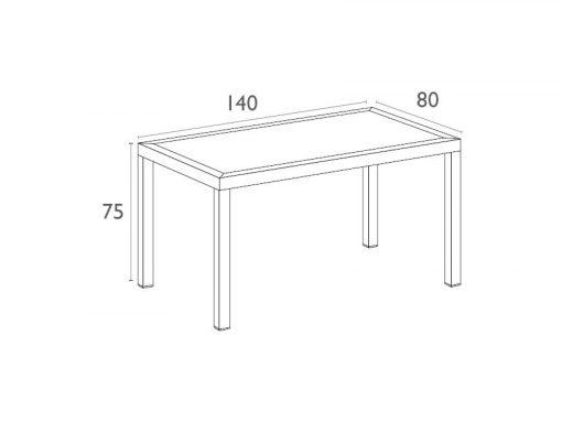 Orlando Table 140 Dimensions