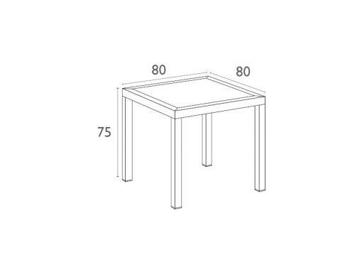 Orlando Table 80 Dimensions