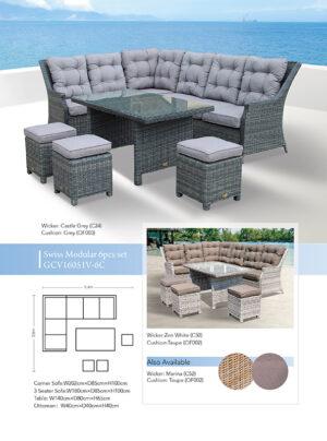 Swiss 6 Piece Corner Lounge