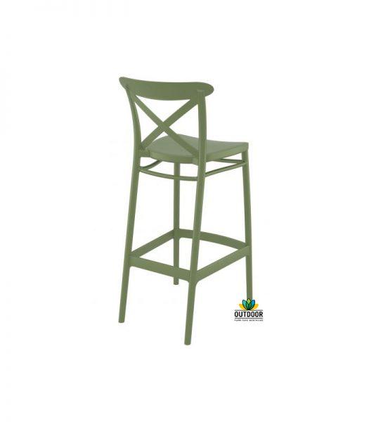 Cross Barstool Olive Green